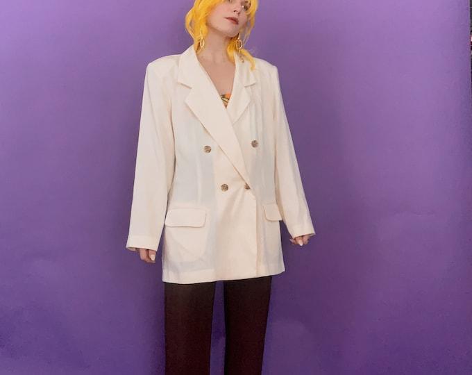 Vintage 80s | Lightweight Double Breasted Cream Blazer