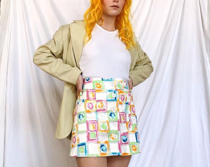 Colorful Painterly Mini Skirt
