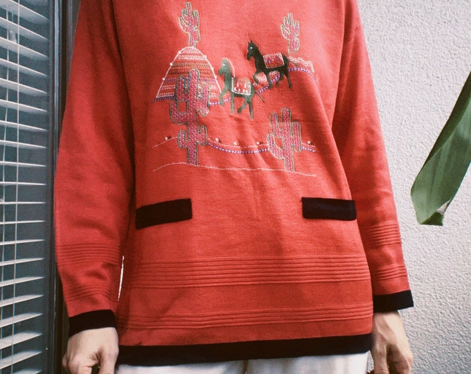 Vintage 80s   Cacti Embroidered Sweater