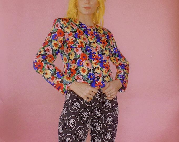 90s Albert Nipon Silk Floral Jacket