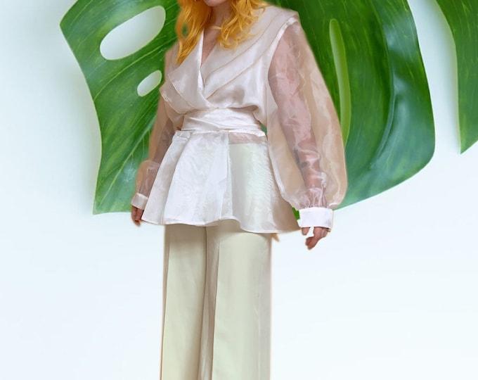 Vintage 80s White Sheer Wrap Blouse