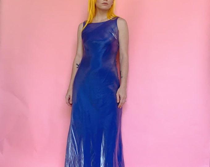 90s Metallic Periwinkle Dress