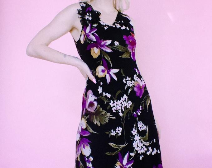 Vintage 90s Silk Chiffon Floral Dress