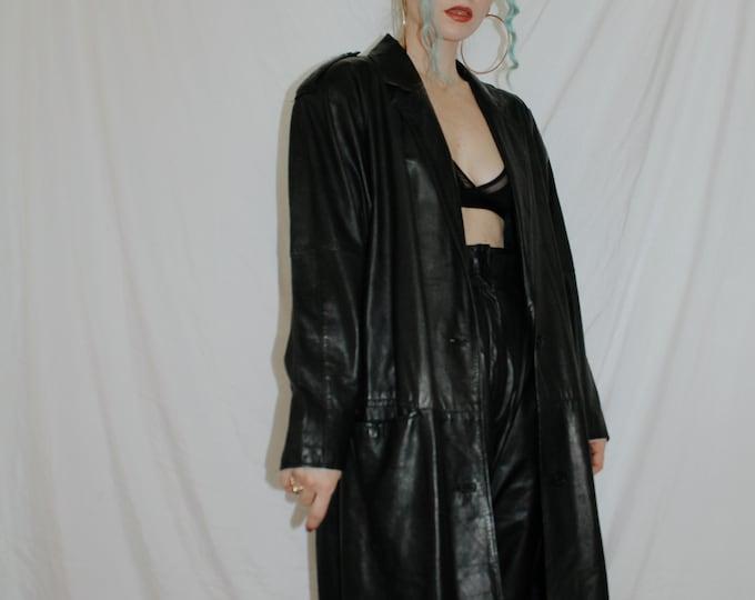 Vintage 1980s | Black Leather Longline Coat