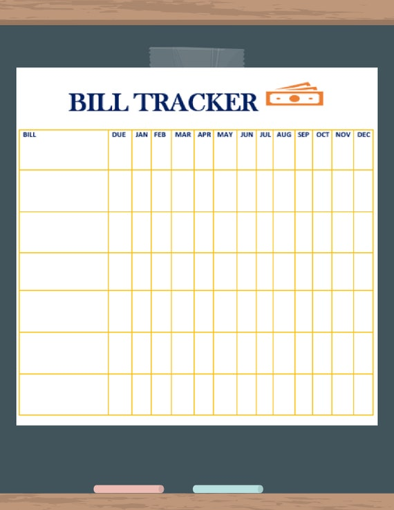 simple bill tracker printable etsy