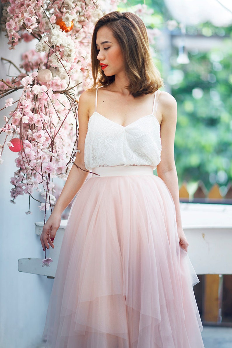 Multiple layers pink pastel skirt