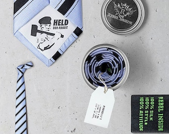 """Special Business Tie """"Stachanov"""" ice blue/ black striped"""