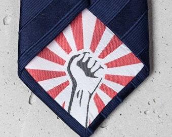 """dark blue premium business tie with """"fist"""""""