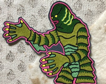 Creature from the Black Lagoon with Pink Outline Embroidered Patch