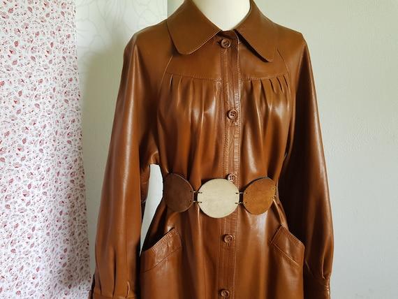 70s leather coat-cognac colors