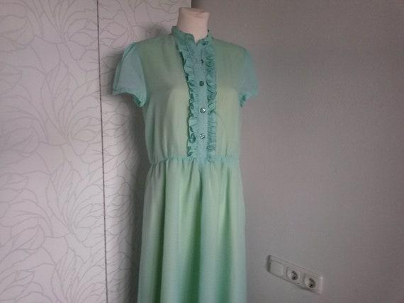 Ruffle dress 80s turquoise/yellow - image 1