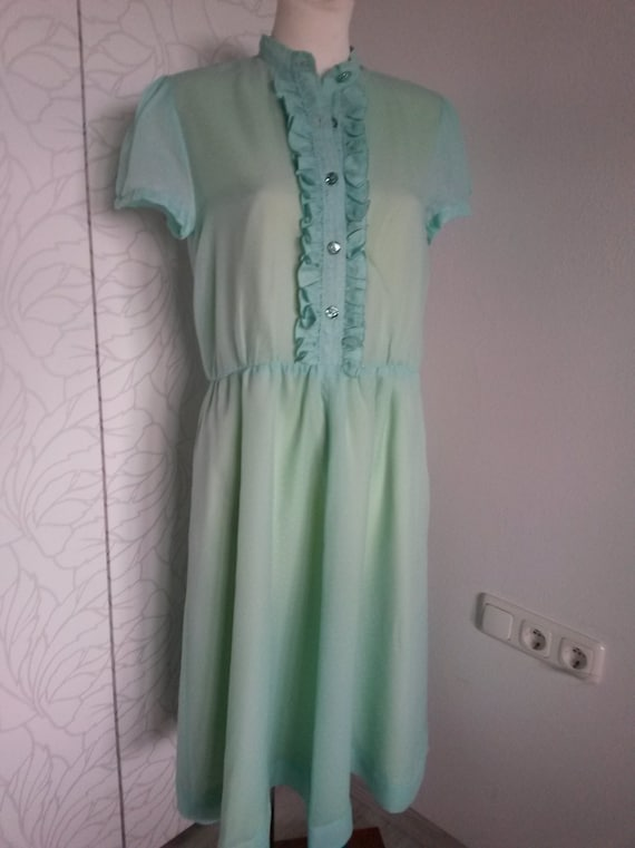 Ruffle dress 80s turquoise/yellow - image 2