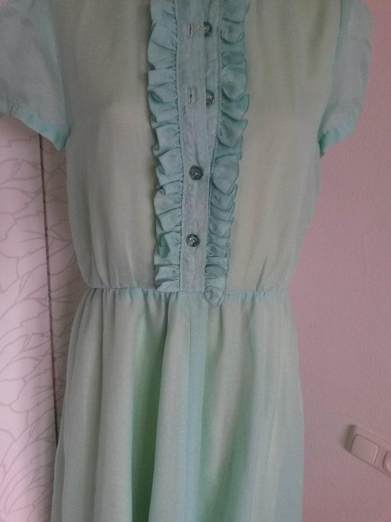 Ruffle dress 80s turquoise/yellow - image 4