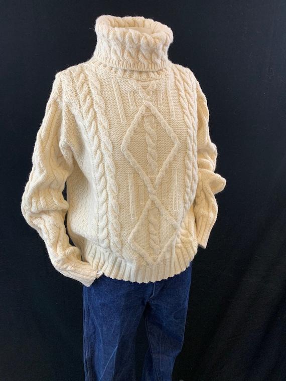 Ivory fisherman knit turtleneck sweater