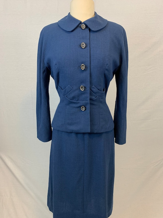 Blue Victory 1940's skirt suit