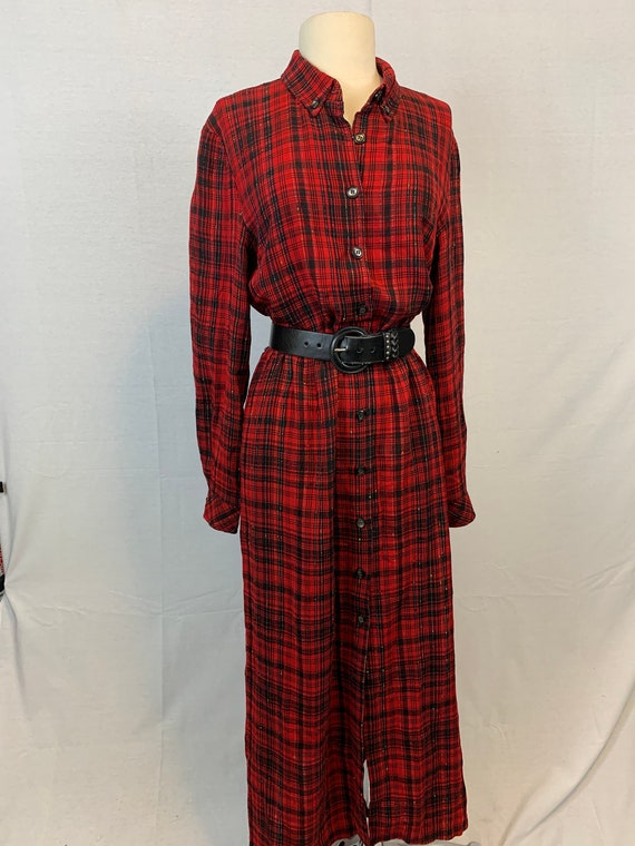 Plaid midi shirtdress
