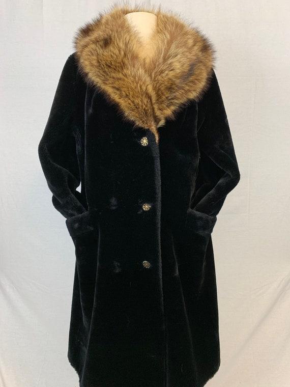 Faux fur with raccoon collar coat