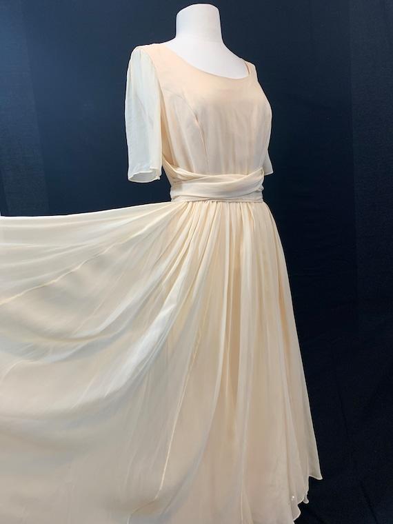 Ivory sheer silk tie waist dress
