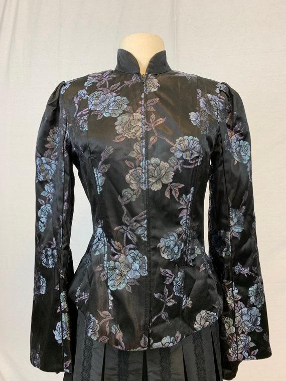 Brocade bell sleeve evening jacket