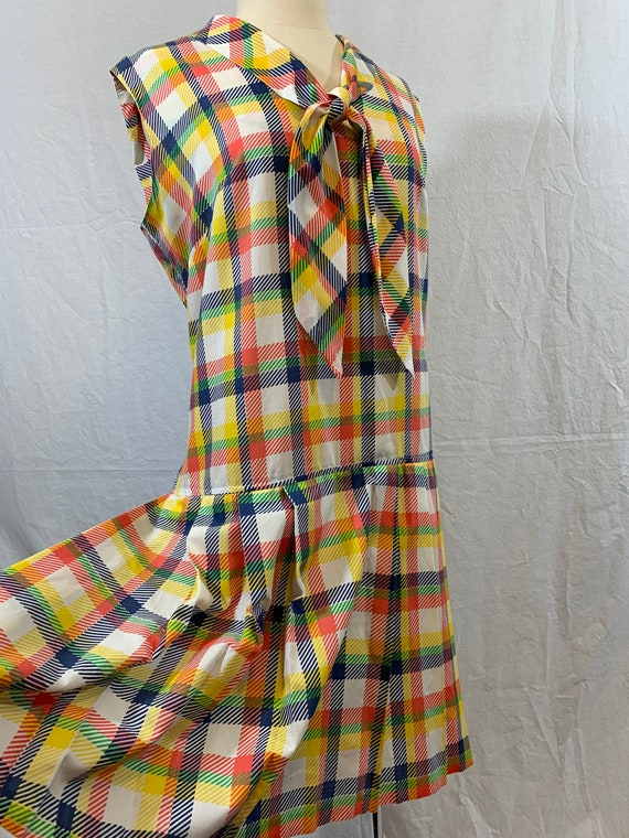 Playsuit Romper rainbow plaid tie neck