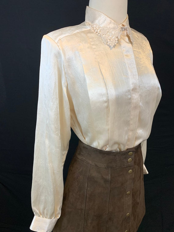 Romantic satin and lace blouse