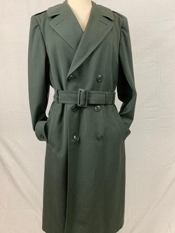 Military wool gabardine trench coat