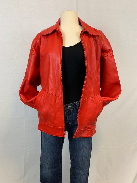 Red leather I Magnin bomber jacket