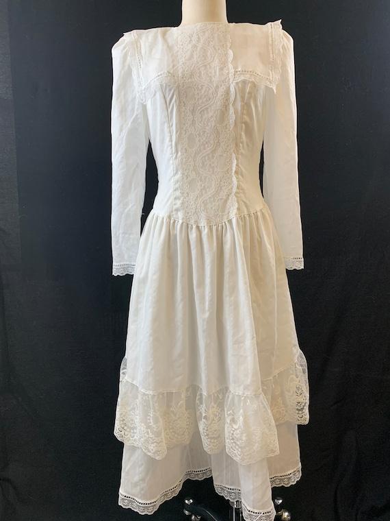 Gunne Sax tea length bustle back Edwardian dress