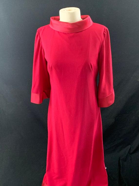 Raspberry bell sleeve satin trim 60's evening dres