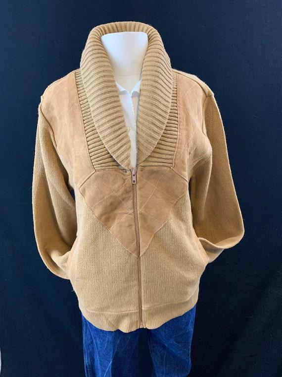 Shawl collar suede 70's zip front cardigan NOS