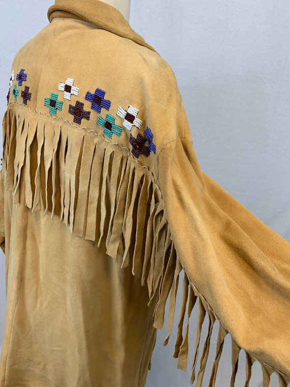 Handmade beaded suede fringe jacket