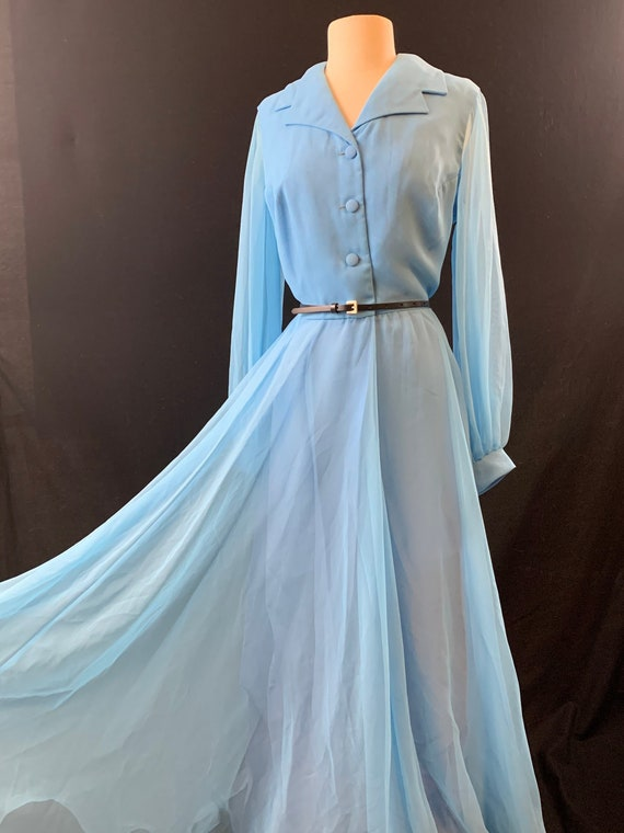 Ice blue chiffon poet sleeve full length 60's even
