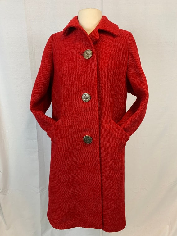 Shagmoor vintage red boucle wool coat