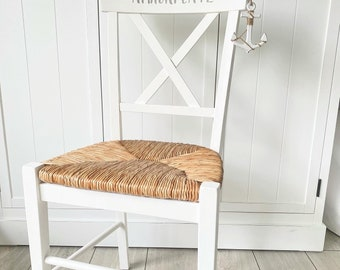 Enchanting maritime chair, wooden chair, kitchen chair, shabby style, white, anchorage, skandi, Nordic style, solid wood chair, upcycling