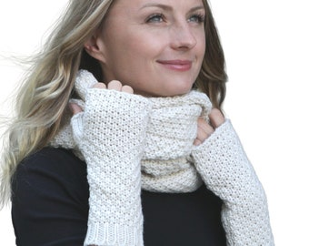 9a073975018dc7 HILLTOP-Winter Kombi set of scarf and optional gloves or hand warmer,  2-tlg., versch. Colors (Winterset color offset composition: Cream with hand  warmers)