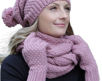 0a4704d90249d7 Winter Kombi set of winter scarf, matching knitted hat/beanie and optional  gloves or hand warmer, 3-tlg., ssch. Colors (Winterset color offset  composition: ...