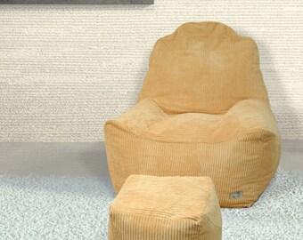 Sitzsack Bezug Sessel Sitzkissen Inkl. Hocker