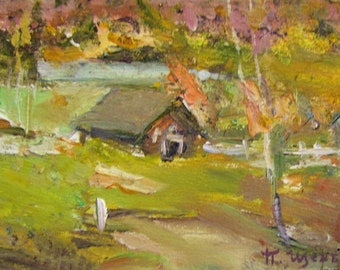 Old English Cottage in Autumn Fall Mother Child Country Rural 8x10 Print 136