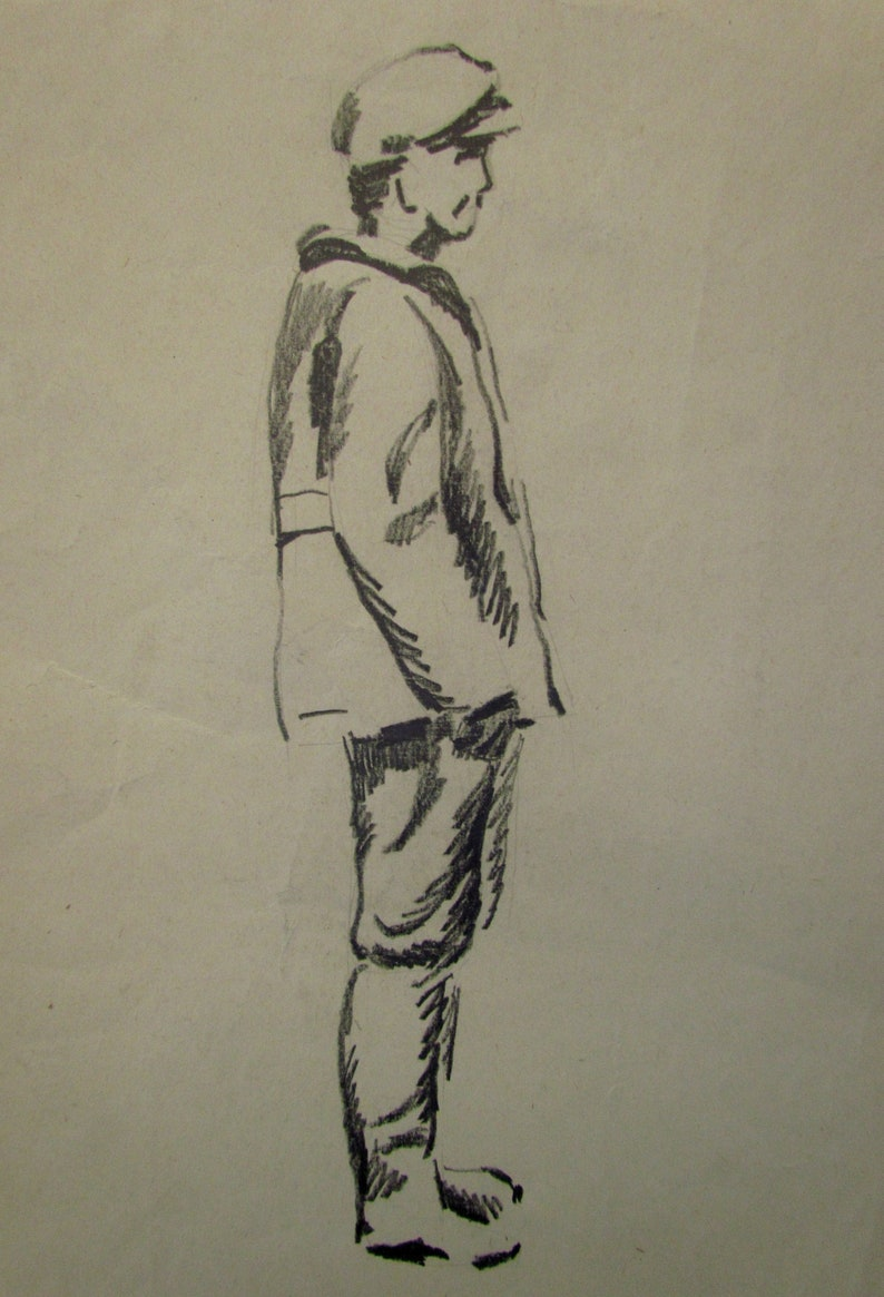 Illustration Original painting Unique artwork Minimalist Black /& White Drawing Soviet art Men  Monochrome Hand drawn