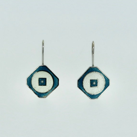 Enamel and Seed Pearl Dangle Earrings