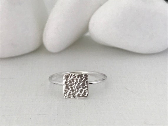 geometric ring Square ring in silver 925 square ring