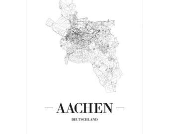 Aachen Karte Stadtteile.Aachen Poster Etsy