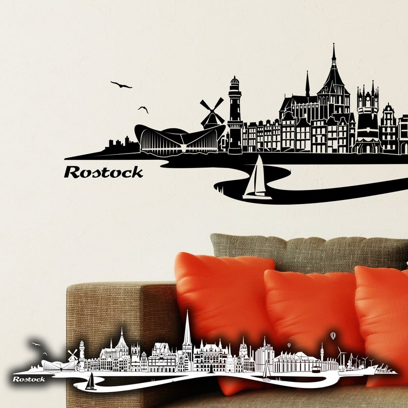 Wandkings Wall Tattoo Skyline Rostock With River 100 Made In Germany