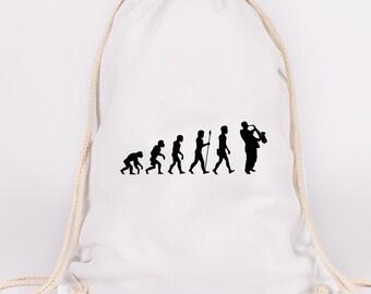 """JUNIWORDS Turn bag motif """"evolution saxophone""""-100% made in Germany"""