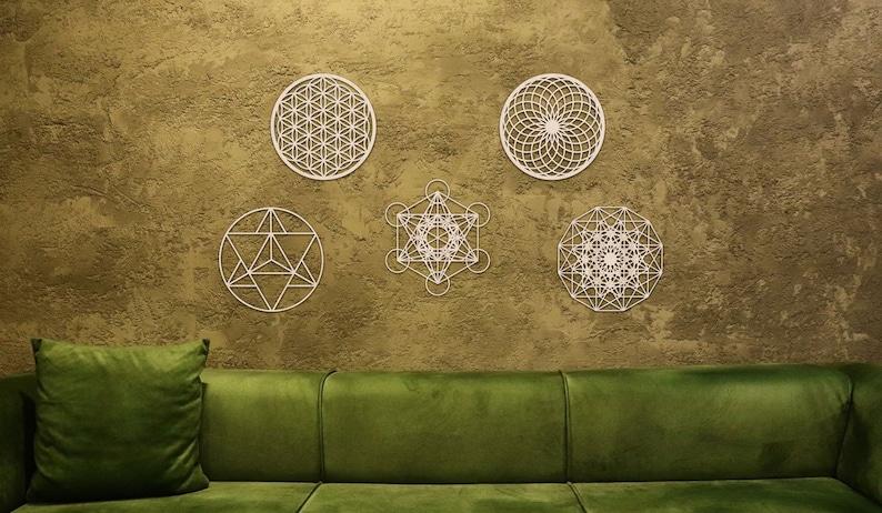 Sacred Geometry Wall Art Set of 5 Flower of Life Torus Natural Wood