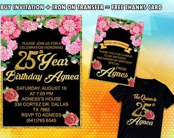 25th Birthday Invitation Iron On Transfer Invite For Women Invitations Men