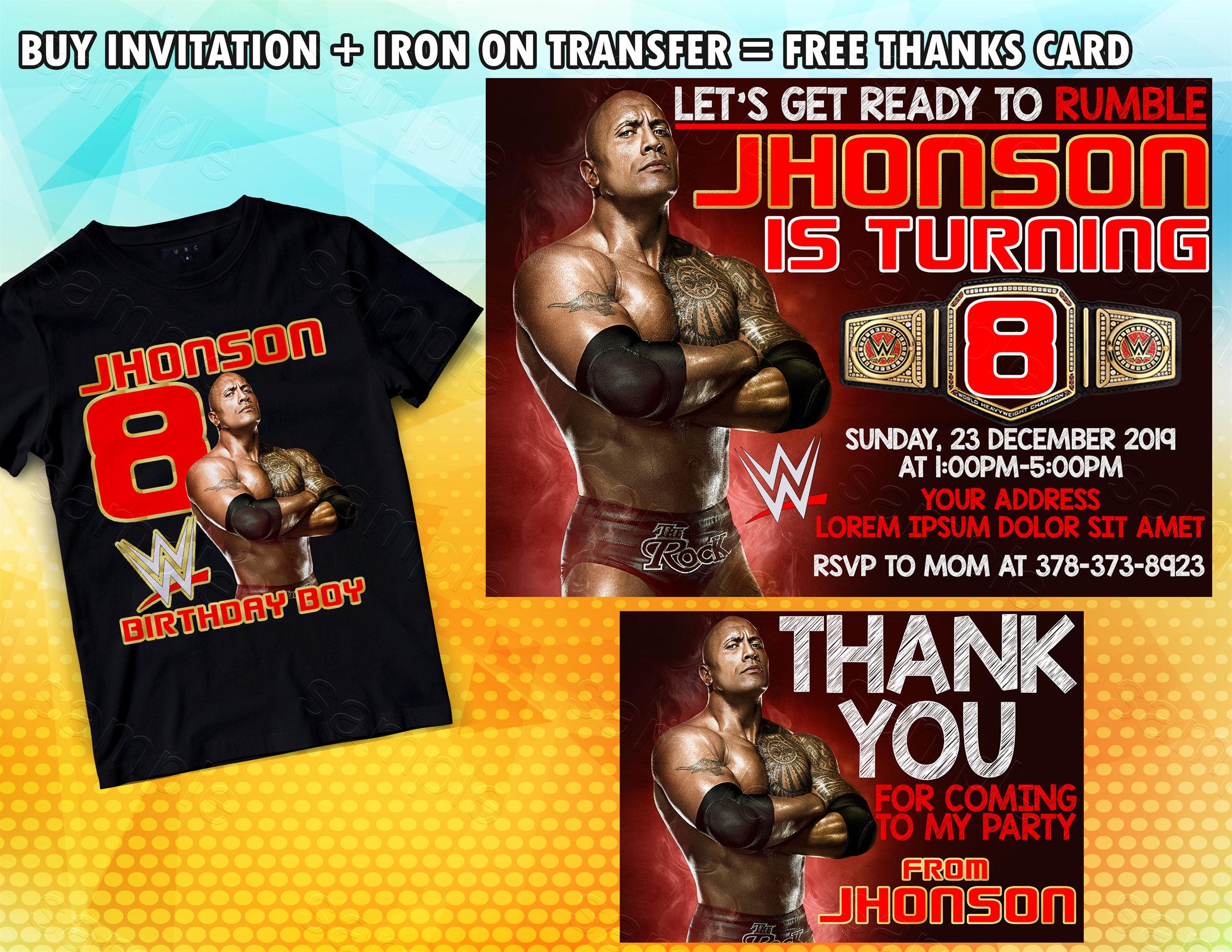 Wwe Wrestling Birthday Invitation