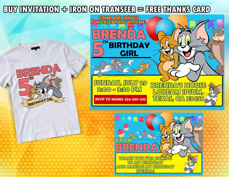 Tom And Jerry Invitations Iron On Transfer