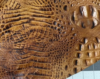 Leather Scraps Embossed Crocodile Saddle #444 Embossed Leather Supply for DIY