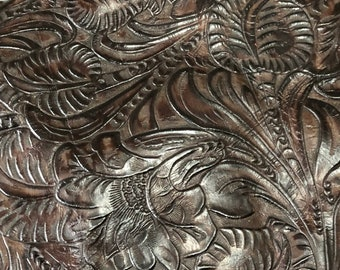 Embossed Leather Hornback Crocodile Brown and Copper #1048 Western Embossed